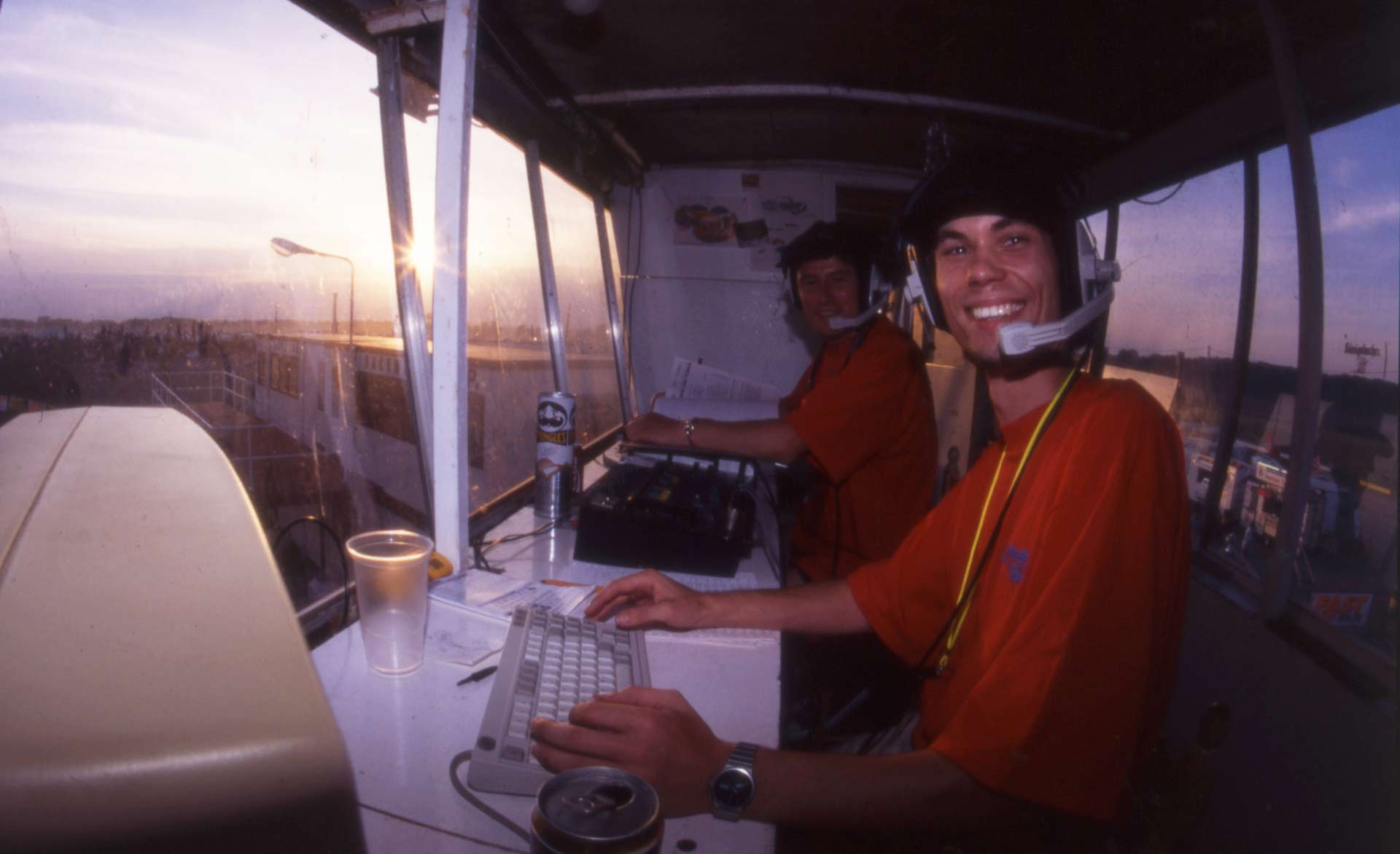 Andrew Noakes and David Roberts at Santa Pod commentating on the Fast Car UFC'95 event